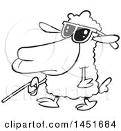 Clipart Graphic Of A Cartoon Black And White Lineart Blind Sheep Walking With A Cane Royalty Free Vector Illustration