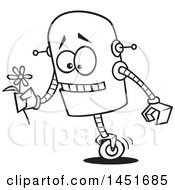 Cartoon Black And White Lineart Romantic Robot Holding A Flower