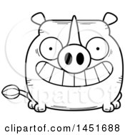 Clipart Graphic Of A Cartoon Black And White Lineart Grinning Rhinoceros Character Mascot Royalty Free Vector Illustration