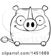 Clipart Graphic Of A Cartoon Black And White Lineart Happy Rhinoceros Character Mascot Royalty Free Vector Illustration