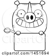 Cartoon Black And White Lineart Rhinoceros Character Mascot Over A Blank Sign