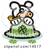 Dog Smoking A Tobacco Pipe And Resting On A St Patricks Day Hat With Clovers Clipart Illustration