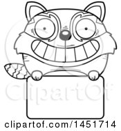 Cartoon Black And White Lineart Red Panda Character Mascot Over A Blank Sign