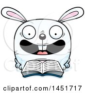 Clipart Graphic Of A Cartoon Reading Bunny Rabbit Character Mascot Royalty Free Vector Illustration
