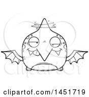 Poster, Art Print Of Cartoon Black And White Lineart Drunk Pterodactyl Character Mascot