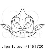 Cartoon Black And White Lineart Hatching Pterodactyl Character Mascot