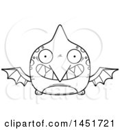 Poster, Art Print Of Cartoon Black And White Lineart Grinning Pterodactyl Character Mascot