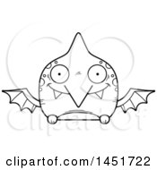 Poster, Art Print Of Cartoon Black And White Lineart Happy Pterodactyl Character Mascot