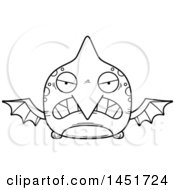 Cartoon Black And White Lineart Mad Pterodactyl Character Mascot