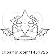 Cartoon Black And White Lineart Sleeping Pterodactyl Character Mascot