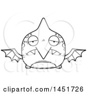 Cartoon Black And White Lineart Sad Pterodactyl Character Mascot