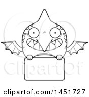 Cartoon Black And White Lineart Pterodactyl Character Mascot Over A Blank Sign