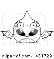 Poster, Art Print Of Cartoon Black And White Lineart Smiling Pterodactyl Character Mascot