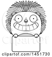 Cartoon Black And White Lineart Porcupine Character Mascot Over A Blank Sign