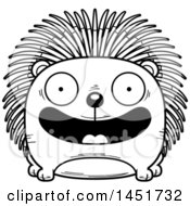 Clipart Graphic Of A Cartoon Black And White Lineart Smiling Porcupine Character Mascot Royalty Free Vector Illustration