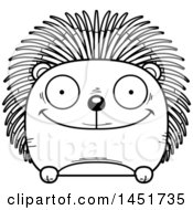 Clipart Graphic Of A Cartoon Black And White Lineart Happy Porcupine Character Mascot Royalty Free Vector Illustration