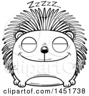 Clipart Graphic Of A Cartoon Black And White Lineart Sleeping Porcupine Character Mascot Royalty Free Vector Illustration
