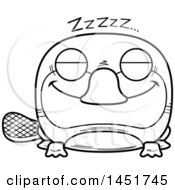 Clipart Graphic Of A Cartoon Black And White Lineart Sleeping Platypus Character Mascot Royalty Free Vector Illustration