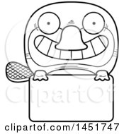 Cartoon Black And White Lineart Platypus Character Mascot Over A Blank Sign