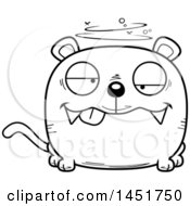 Clipart Graphic Of A Cartoon Black And White Lineart Drunk Panther Character Mascot Royalty Free Vector Illustration