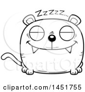 Clipart Graphic Of A Cartoon Black And White Lineart Sleeping Panther Character Mascot Royalty Free Vector Illustration