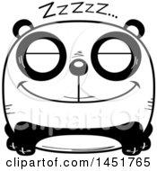 Clipart Graphic Of A Cartoon Black And White Sleeping Panda Character Mascot Royalty Free Vector Illustration