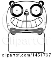Cartoon Black And White Panda Character Mascot Over A Blank Sign