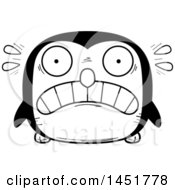 Clipart Graphic Of A Cartoon Black And White Scared Penguin Bird Character Mascot Royalty Free Vector Illustration