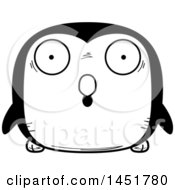 Clipart Graphic Of A Cartoon Black And White Surprised Penguin Bird Character Mascot Royalty Free Vector Illustration