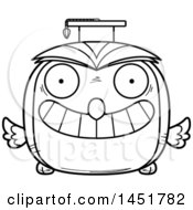 Clipart Graphic Of A Cartoon Black And White Lineart Graduate Owl Character Mascot Royalty Free Vector Illustration
