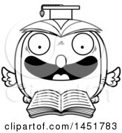 Clipart Graphic Of A Cartoon Black And White Lineart Reading Graduate Owl Character Mascot Royalty Free Vector Illustration