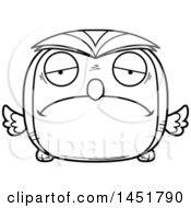 Clipart Graphic Of A Cartoon Black And White Lineart Sad Owl Character Mascot Royalty Free Vector Illustration