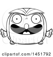 Clipart Graphic Of A Cartoon Black And White Lineart Happy Owl Character Mascot Royalty Free Vector Illustration