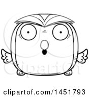 Clipart Graphic Of A Cartoon Black And White Lineart Surprised Owl Character Mascot Royalty Free Vector Illustration