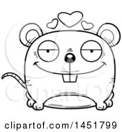 Cartoon Black And White Lineart Loving Mouse Character Mascot