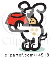 Hungry Dog Holding A Red Dog Bowl Waiting To Be Fed Clipart Illustration