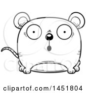 Clipart Graphic Of A Cartoon Black And White Lineart Surprised Mouse Character Mascot Royalty Free Vector Illustration