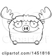 Clipart Graphic Of A Cartoon Black And White Lineart Happy Moose Character Mascot Royalty Free Vector Illustration
