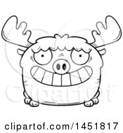 Clipart Graphic Of A Cartoon Black And White Lineart Grinning Moose Character Mascot Royalty Free Vector Illustration