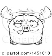 Clipart Graphic Of A Cartoon Black And White Lineart Drunk Moose Character Mascot Royalty Free Vector Illustration