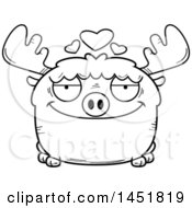Cartoon Black And White Lineart Loving Moose Character Mascot