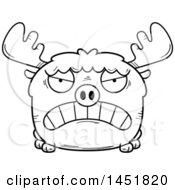 Clipart Graphic Of A Cartoon Black And White Lineart Mad Moose Character Mascot Royalty Free Vector Illustration