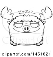 Clipart Graphic Of A Cartoon Black And White Lineart Sleeping Moose Character Mascot Royalty Free Vector Illustration