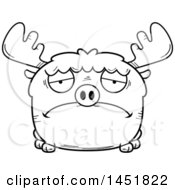Clipart Graphic Of A Cartoon Black And White Lineart Sad Moose Character Mascot Royalty Free Vector Illustration