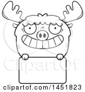 Cartoon Black And White Lineart Moose Character Mascot Over A Blank Sign