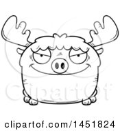 Clipart Graphic Of A Cartoon Black And White Lineart Sly Moose Character Mascot Royalty Free Vector Illustration