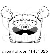 Clipart Graphic Of A Cartoon Black And White Lineart Smiling Moose Character Mascot Royalty Free Vector Illustration