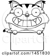 Clipart Graphic Of A Cartoon Black And White Lineart Lynx Character Mascot Over A Blank Sign Royalty Free Vector Illustration by Cory Thoman