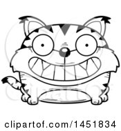 Clipart Graphic Of A Cartoon Black And White Lineart Grinning Lynx Character Mascot Royalty Free Vector Illustration