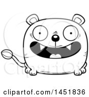 Cartoon Black And White Lineart Smiling Lioness Character Mascot